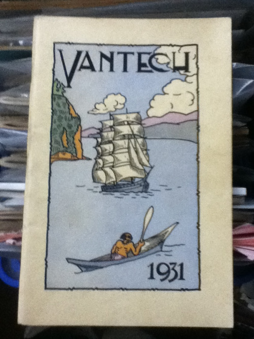 Another item from MacLeod's Books in Vancouver, this time it's the Vantech yearbook from 1931. Perhaps it might be appropriate to mention two upcoming events here. It's soon the 100th Anniversary of the death of E. Pauline Johnson / Tekahionwake. Join The City of Victoria's Poet Laureate Janet Rogers for a talk called The Inspiration of E. Pauline at Rhizome Cafe on Saturday, March 9th at 7:00pm. Then the next day, it's Poetry in the Park for Pauline: Poetry Offerings at  Stanley Park, at Johnson's Memorial at 1:00pm (Johnson's birthday). More info at http://www.herstorycafe.ca/  And for those who visit VPL Library Square, look for the display cabinet filled with Pauline Johnson ephemera on the seventh floor in Special Collections.