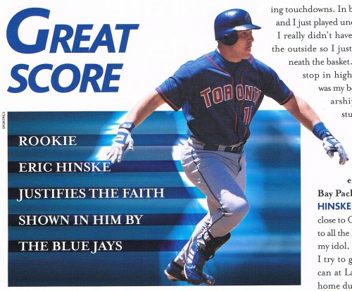 Eric Hinske photo, 2002 Playball Magazine issue #3 Eric Hinske was pretty good in his rookie year. He hit .279/.365/.485, with 24 HR and 84 RBI, a WAR of 4.0, and he became the second Blue Jay to win the AL Rookie of the Year award. Sadly, it was downhill from there. He never topped his rookie HR and RBI, or even his 13 stolen bases. Now part of that is due to games played, as he became a part-timer, but he also never reached his rookie batting average, on base percentage, or OPS+ number (119). To fans around MLB, he is probably best remembered as being a bit of a good luck charm utility player, as he made the playoffs 4 years in a row from 2007-2010 - all on different teams (Red Sox, Rays, Yankees, Braves). But to Blue Jays fans, he's remembered as a disappointment. Now in his 12th season, he's been relegated to a pinch hitter role (13 of his 15 games he's come in as a pinch hitter), but somehow he's still playing - and getting paid $1,350,000.