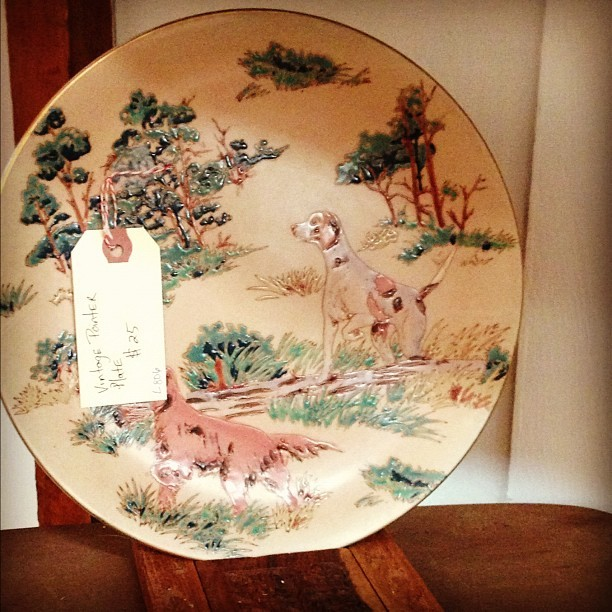 Vintage pointer dog plate (at Moon and Arrow home of territory hard goods)