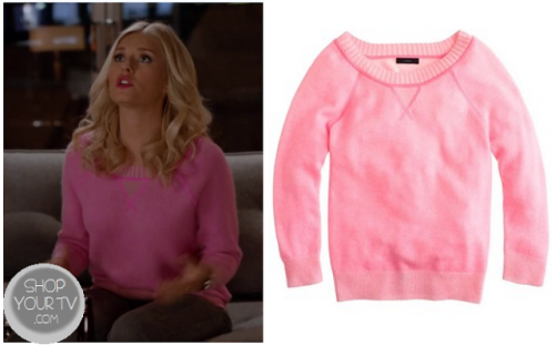 Alex Kerkovich (Elisha Cuthbert) wore this pink knit sweater in this week's episode of Happy Endings.  It is the J.Crew Collection cashmere plaited sweatshirt . Buy it HERE.