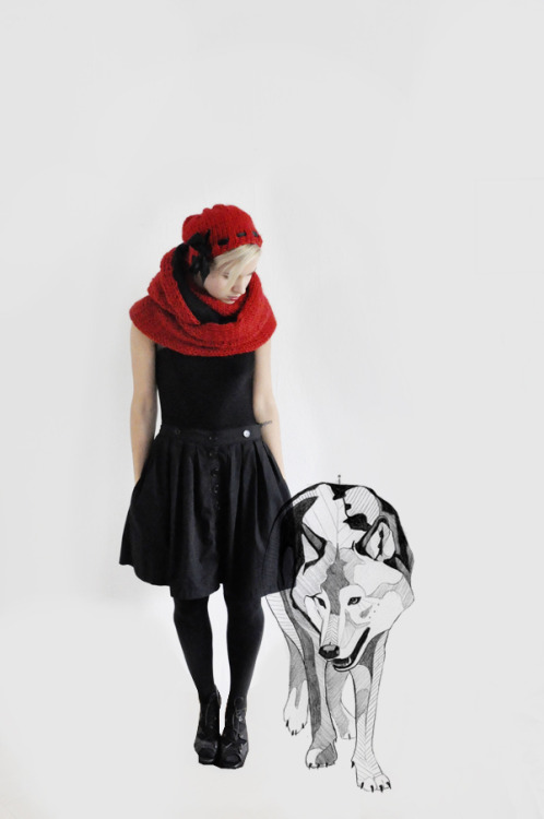red knits&wolf illustration - little red riding hood&the good wolf