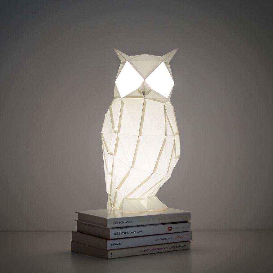 Lámparas con forma de animales de origami - búhos 2