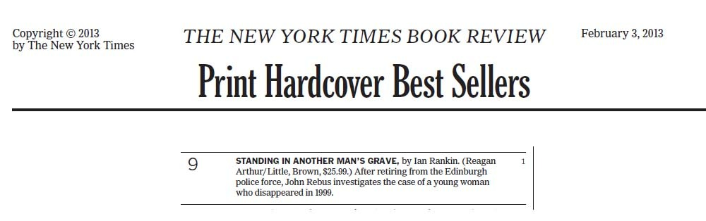 The news of STANDING IN ANOTHER MAN'S GRAVE hitting the New York Times Bestseller list made us jump for joy this week. Reagan has been publishing Ian for 20 years in the US. Thank you for your support! -MRP