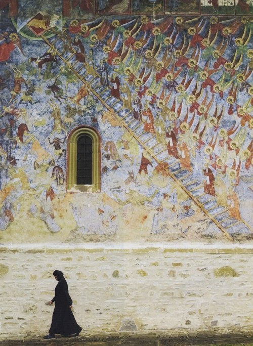 "all-is-in-the-all:  ""Exterior Frescoes at Sucevița Monastery, an Eastern Orthodox convent situated in the Northeastern part of Romania, 16th Century. Image via Smithsonian Magazine, Print Edition, June 2007, Scripture Alfresco."""