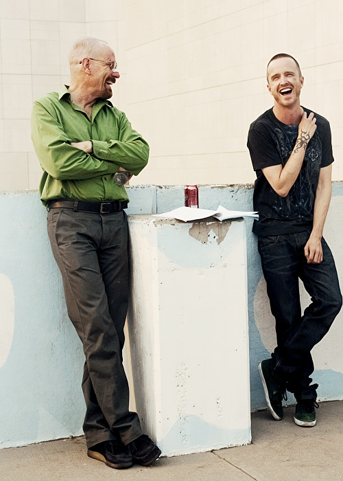 Bryan Cranston and Aaron Paul on the set of Breaking Bad