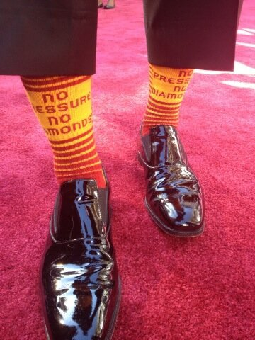 """We just won an Oscar 'no pressure no diamonds.'"" Someone wore RGIII's socks to the Academy Awards … and won!"