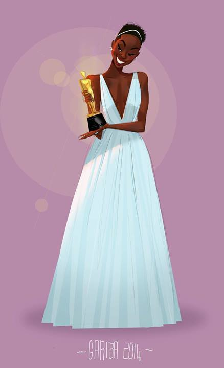 bookshop:  Feast your eyes on the Internet's gift to Oscar night: this gorgeous collection of Lupita Nyong'o fanart … We think Lupita wore it better than all of the other comers, of course. (Sorry, Tiana!) There's no doubt that last night was a fairy tale come true. But Lupita Nyong'o's win was more than just a dream: It was an important win for representative media. Tumblr artist 0ddjobs depicted Nyong'o as a personal inspiration to her after the win last night, painting herself as a small girl looking up to Nyong'o as an example…. Pay attention, Hollywood: This is what a real film princess looks like. [READ MORE] Art above by Gyimah Gariba / Facebook, featured with permission; also at garibage on Tumblr!  Lupita fanart on the Internet was our #1 best reason to wake up today.