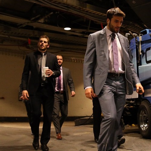 nhlbruins:  Bergeron, Seguin & the rest of the B's head to the locker room before Game 3 at MSG #nhlbruins