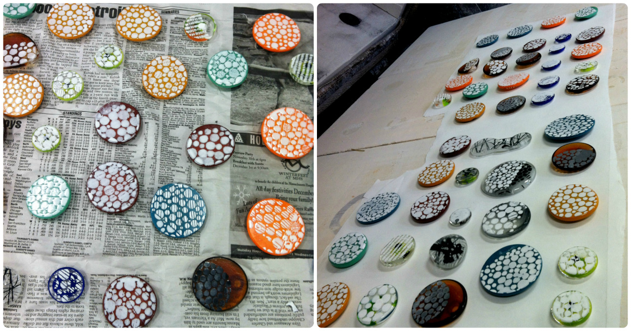 Finally enameled and fired these glass pieces for new Kumi Circle Jewelry. I'm hoping to finish and get some new pieces listed soon!  kumicircle.etsy.com