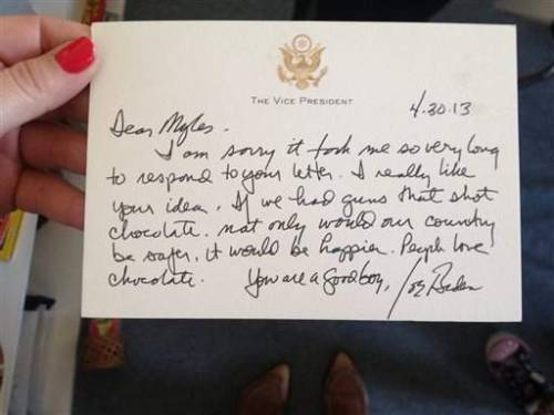 "bluelightseven:      Joe Biden responds to second-grader with personal, handwritten note     ""You are a good boy."" YAY FOR PAPA JOE"
