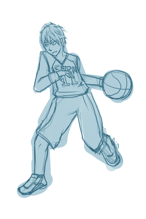 This looks really weird but my friend wanted me to draw Kuroko from Kuroko no Bassuke. yeahhhh. i don't like drawing sports jerseys i also got really lazy when sketching this. also i don't know how to do action poses and it looks really weird. sobs