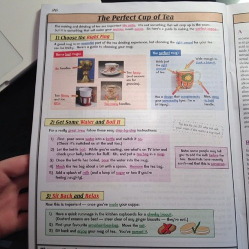 "larson-wright:  sherlockianandstuff:  In which CGP are the most British revision guide ever.  ""Steer clear of any ginger biscuits - they're evil."" Oh how I love CGP. XD  Best revision guides ever."