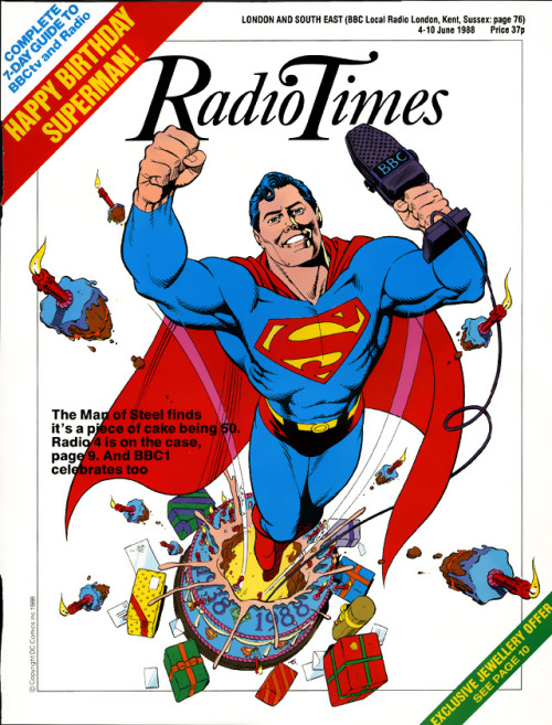 Superman's 50th Birthday; cover by Dave Gibbons for Radio Times, 4-10 June 1988.