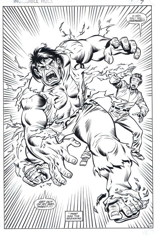 Bruce Banner changes into the Hulk by Sal Buscema.