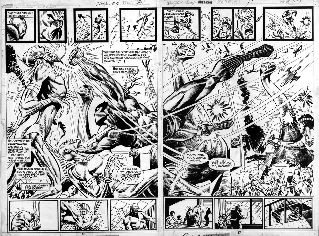 themarvelageofcomics:  A double-page spread from the Black Panther story in JUNGLE ACTION #17 by Billy Graham  …and Don McGregor.