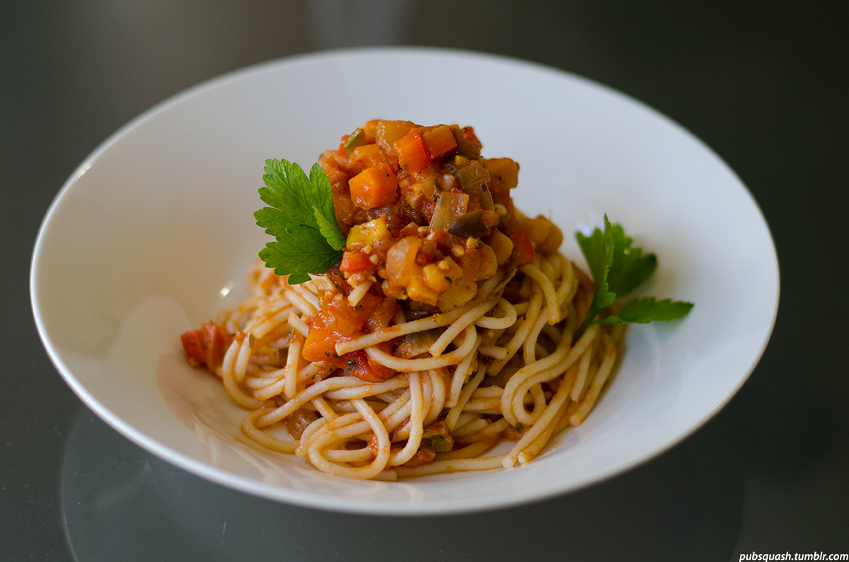 130425. Home made vegetarian spaghetti