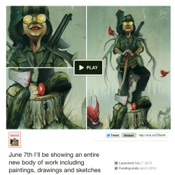 "In preparation for my 1st solo show this June, I've started a Kickstarter project to help fund the travel to and from Chicago. Also the framing for all the pieces of art I'll be showing. Please help me share this as much as humanly possible. All ""backers"" will be rewarded. Thank you for your kindness and support. I hope you like my show…ADKS!"