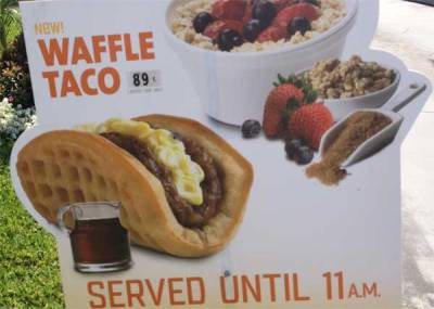 jennyjennybobenny:  Taco Bell Waffle Taco Spotted in Southern Californa I DON'T EVEN KNOW WHAT TO DO RIGHT NOW  Taco Bell breakfast? If this happens, I'll be forced into elastic waist pants.