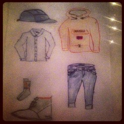 Made a drawing of my clobber from a weeks ago #obey #5panel #napapijri #skidoo #massimodutti #chambray #wrangler #bluebell #jeans #selvedge #selvage #burlington #socks #pointer #cyrill2 #drawing #pencils #markers #colors #lpo #lepremierorateur
