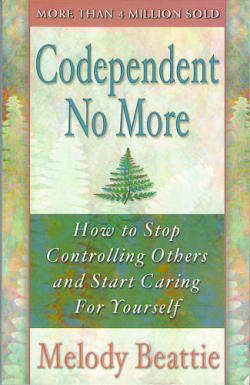 Codependent No More, Melody Beattie (F, 20s, blonde hair with bangs, bright pink lips, green shirt, underlining, 6 train) http://bit.ly/16CjNuq