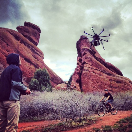 Octocopter camera at the Red Rocks in Denver.