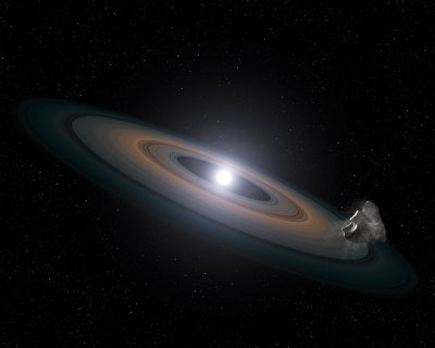 "distant-traveller:  Hubble finds dead stars ""polluted"" with planetary debris  The NASA/ESA Hubble Space Telescope has found signs of Earth-like planets in an unlikely place: the atmospheres of a pair of burnt-out stars in a nearby star cluster. The white dwarf stars are being polluted by debris from asteroid-like objects falling onto them. This discovery suggests that rocky planet assembly is common in clusters, say researchers. The stars, known as white dwarfs — small, dim remnants of stars once like the Sun — reside 150 light-years away in the Hyades star cluster, in the constellation of Taurus (The Bull). The cluster is relatively young, at only 625 million years old. Astronomers believe that all stars formed in clusters. However, searches for planets in these clusters have not been fruitful — of the roughly 800 exoplanets known, only four are known to orbit stars in clusters. This scarcity may be due to the nature of the cluster stars, which are young and active, producing stellar flares and other outbursts that make it difficult to study them in detail. Hubble's spectroscopic observations identified silicon in the atmospheres of two white dwarfs, a major ingredient of the rocky material that forms Earth and other terrestrial planets in the Solar System. This silicon may have come from asteroids that were shredded by the white dwarfs' gravity when they veered too close to the stars. The rocky debris likely formed a ring around the dead stars, which then funnelled the material inwards. The debris detected whirling around the white dwarfs suggests that terrestrial planets formed when these stars were born. After the stars collapsed to form white dwarfs, surviving gas giant planets may have gravitationally nudged members of any leftover asteroid belts into star-grazing orbits. Besides finding silicon in the Hyades stars' atmospheres, Hubble also detected low levels of carbon. This is another sign of the rocky nature of the debris, as astronomers know that carbon levels should be very low in rocky, Earth-like material. This new study suggests that asteroids less than 160 kilometres across were gravitationally torn apart by the white dwarfs' strong tidal forces, before eventually falling onto the dead stars.  Image credit:  NASA, ESA, STScI, and G. Bacon (STScI)"
