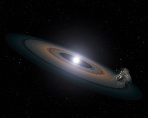 Dead Stars are 'Polluted' with Planetary DebrisThe NASA/ESA Hubble Space Telescope has found signs of Earth-like planets in an unlikely place: the atmospheres of a pair of burnt-out stars in a nearby star cluster. The white dwarf stars are being polluted by debris from asteroid-like objects falling onto them. This discovery suggests that rocky planet assembly is common in clusters, say researchers.The stars, known as white dwarfs — small, dim remnants of stars once like the Sun — reside 150 light-years away in the Hyades star cluster, in the constellation of Taurus (The Bull). The cluster is relatively young, at only 625 million years old.Read more: http://www.laboratoryequipment.com/news/2013/05/dead-stars-are-polluted-planetary-debris