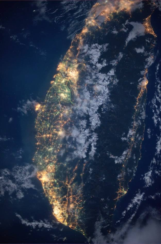 Taiwan as seen from the International Space Station - a shot taken byNASA astronaut Karen Nyberg on the 22nd of July 2013.