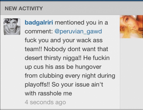 Rihanna responding to allegations she's fucking up JR Smith's game.