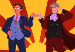 loopy-lupe:  I think it was proper time I drew an actual picture of Edgeworth in his new 34 year old swagger pimp coat. Seriously, Phoenix is bros with the CHIEF PROSECUTOR. If that isn't street cred I don't know what is. And can you remember the times when one believed his girlfriend didn't defecate and the other couldn't even fold paper cranes? They've grown up so much…