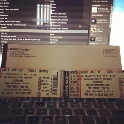 My tix for @CHVRCHES at @FondaTheatre have arrived! So ampd! They're a real dope indie synth Pop band. Check 'em out! #CHVRCHES #Indie #IndieMusic #Hipster #FondaTheatre #Concert #Show #LiveMusic #Music