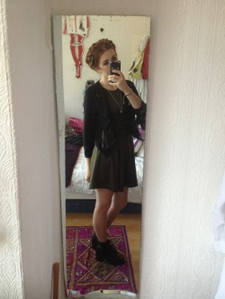 What I wore today, Primark khaki skater dress, topshop black waterfall blazer, new look heeled worker boots, skinny black belt, my great grandmothers silver locket, French maid plait hair.