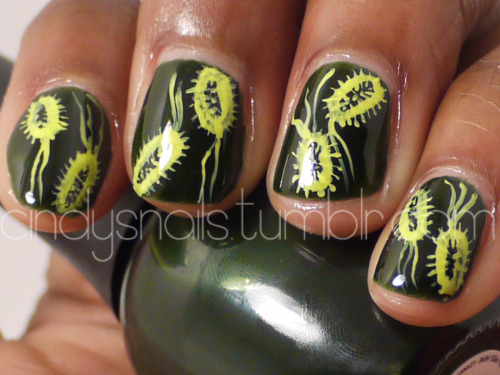 Daily/Weekly Nail Challenge #19: Microorganism YES. SCIENCE. BIOLOGY. I wouldn't be shocked if I was the biggest science geek that also was a nail art fanatic. Escherichia coli, anyone? Click here to check out Kelly's microorganism nails! Colors Used: Finger Paints - Tough Art to Follow Nina Ultra Pro - Solar Flare China Glaze - Def Defying Sinful Colors - Snow Me White