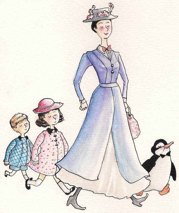 fictionalfanart:  Mary Poppins, Jane and Michael Banks from the Mary Poppins series by P. L. Travers