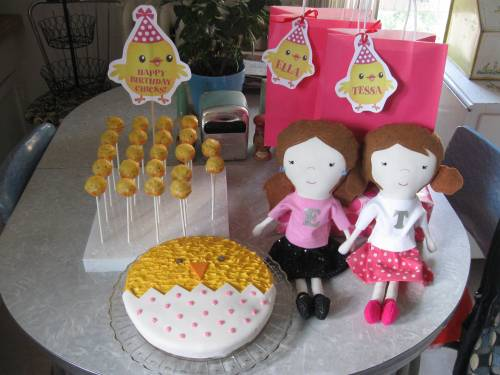 Party favors for my nieces' birthdays: chickie cake, chickie cake pops, tags and dollies