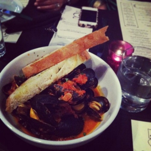 Prince Edward Island Mussels @5church [toasted garlic, white wine, lime, crushes tomatoes & cream, with grilled bread] // {the five senses} in the Queen City #5senses #taste #foodporn #epiceaters #cltfood #eatlocal #uptown #charlotte #clt #anniversary #birthday  (at 5 Church)