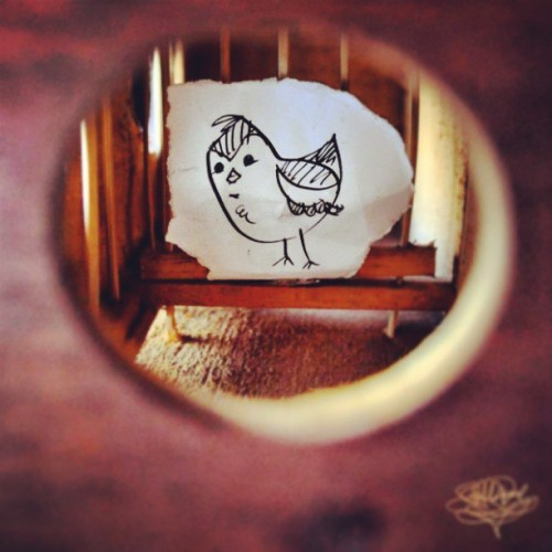 """Caged Burdy"" #cage #paper #ink #doodle #illustration #dlsr #cartoon #bird #birdcage #rod #roderick #perez #Nikon"