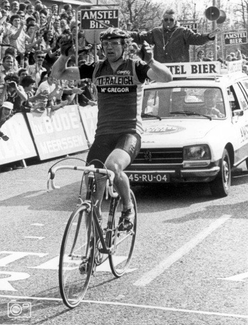 bierbliothecaris:  Jan Raas wins the Gold Race for the 3rd time in 1979. Other wins: 1977,1978,1979,1980 & 1982. Occassionally the race is nicknamed Amstel Gold Raas because of this. :-)  Amstel Gold Raas. Here we go!