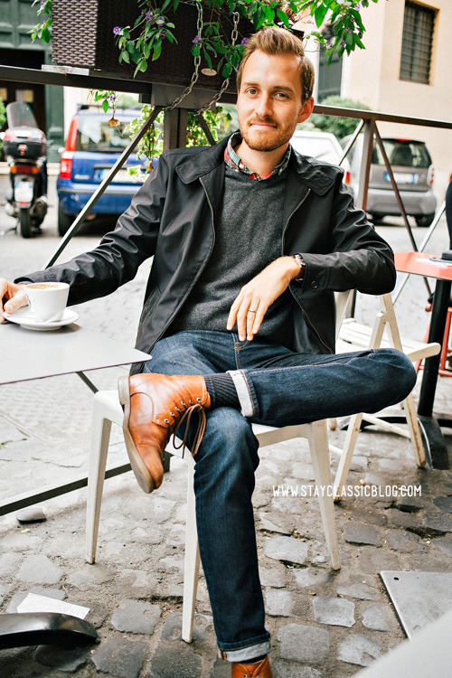 stayclassic:  May 21, 2013. Morning Caffe. Jacket: Banana Republic - $24 (outlet)Sweater: 100% Cashmere - Uniqlo - $19 (Buffalo Exchange) (similar)Shirt: J. Crew Factory (on sale) - $19Jeans: American Eagle - $26Boots: Dune - Topman - $120 (similar)Watch: Timex - Amazon - $31