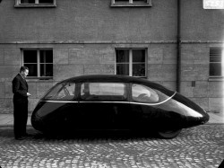 Dr. Karl Schlör and his invention, the incredibly aerodynamic 1939 Schlörwagen Pillbug. The car achieved an impressive drag coefficient (Cd) of 0.13, unbelievably low even for today. Due to the start of WWII this car was not produced, and the only one made was confiscated by the British after the war and never seen again. Click the photo for high resolution.