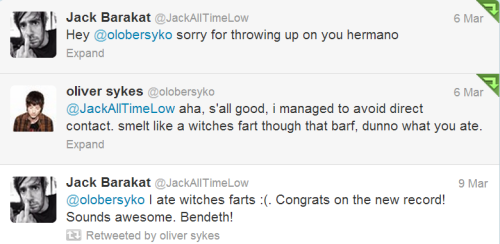 jackbaraphernelia:  friendly reminder that jack barakat threw up on oli sykes