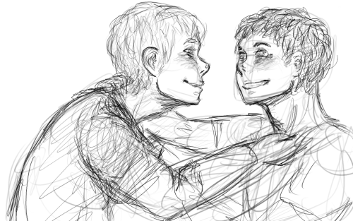 tisnancelot:  super sketchy stupid nameless babies in inconsistent styles again (don't look at their arms pls) nakamura-sensei, ghibli, psycho-pass, white&red, and castle mango barraging me with consecutive waves of feelings lately drew these two to get some motivation for HAPPIER BABIES THAN WHAT I FIND EVERYWHERE and some raburabu feels for valentines still working on those ships and still takin' em if you'd like me to draw a ship any kind of ship that's not necessarily happy in canon but should be by valentines for you send 'em my way!!!!!!!!! ALSO SUGGEST SOME NAMES FOR THESE TWO PLEASE