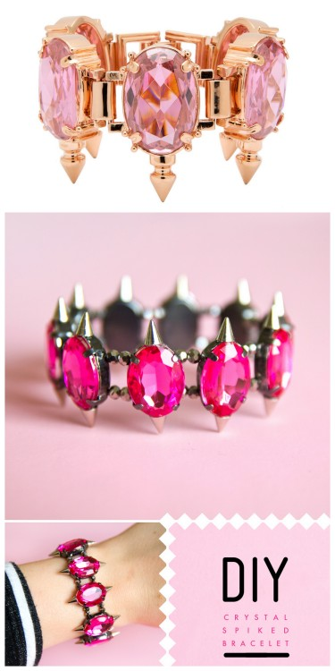 DIY MAWI Inspired Spiked Jeweled Bracelet Tutorial from Sprinkles in Springs here. All the supplies were from Michaels Craft Store except the mini spikes. Top Photo: $740 MAWI Spiked Pink Oval Bracelet here, All Other Photos: DIY by Sprinkles in Springs. For more DIY knockoffs go here: truebluemeandyou.tumblr.com/tagged/knockoff