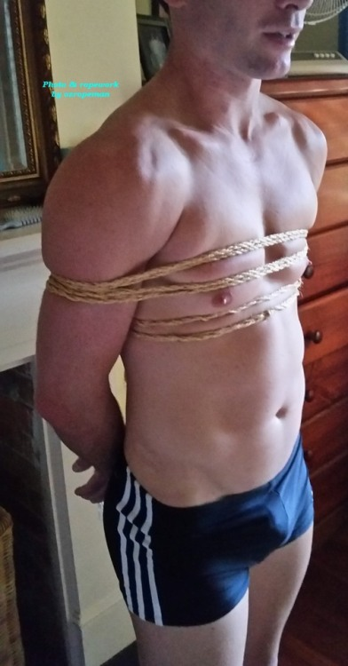 Hot Aussie bloke rope bound tightly, gagged and blindfolded by me