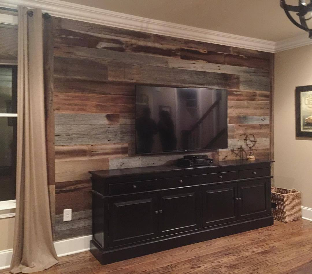 Reclaimed Barn Wood Accent Wall With Tv: We Just Wrapped Up This Gray And