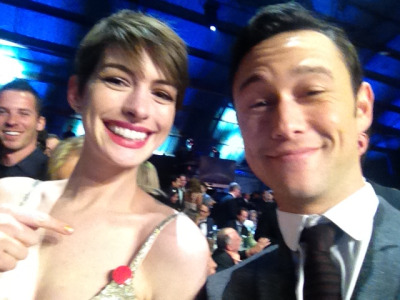 "Joseph Gordon-Levitt: ""Annie tore the strap on her dress, but luckily I had a pin :o)"" [via Facebook]"