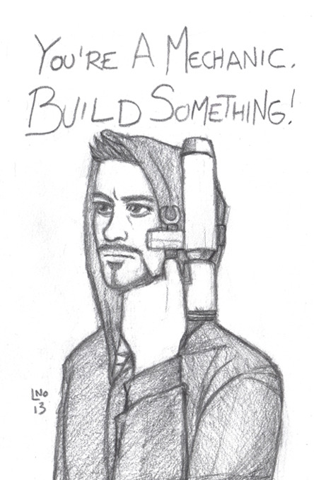 And now a quick sketch of my favorite line from Iron Man 3. Tony Stark is at his best when you strip him of every advantage he has as a well connected, powerful billionaire and he must rely on his best asset, his mind, to get him out of trouble. (That and I like how Shane Black got RDJ in a charcoal hoodie again. It was like Harry Lockart had convinced the world that he was Tony Stark, super genius billionaire.)