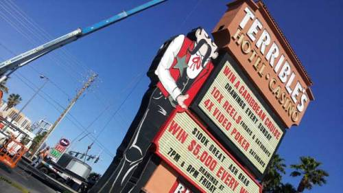 PHOTOS: Check out pics of the dismantling of the Terrible's Casino cowboy | more
