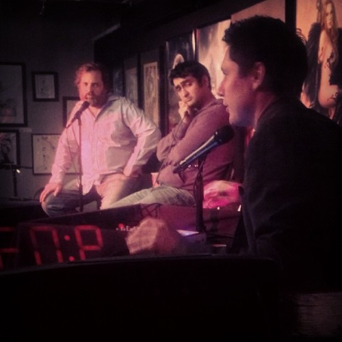 dustinmartian:  .@danharmon @kumailn & @jeffbryandavis at #harmontown 4.15.13. this is going to be the most important podcast of the week, I'd gamble my credibility on that.