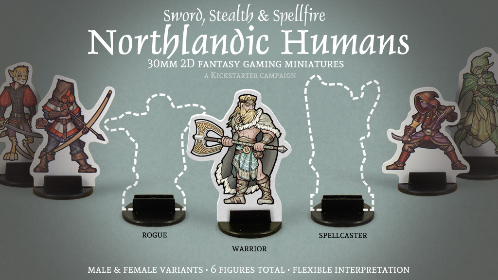 """Northlandic Humands 2D 30mm gender-variant player-character fantasy gaming minis on Kickstater. Backers can get backer-only rewards, such as an exclusive alternate colour scheme and a """"Northlandic Sigil"""" pinback button. #dnd#pathfinder#ttrpg#trpg#vikings#barbarians#nords#rpgminis#paperminis"""